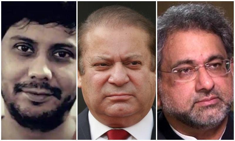 Dawn journalist Cyril Almeida, former premiers Nawaz Sharif and Shahid Khaqan Abbasi. — Photo/File