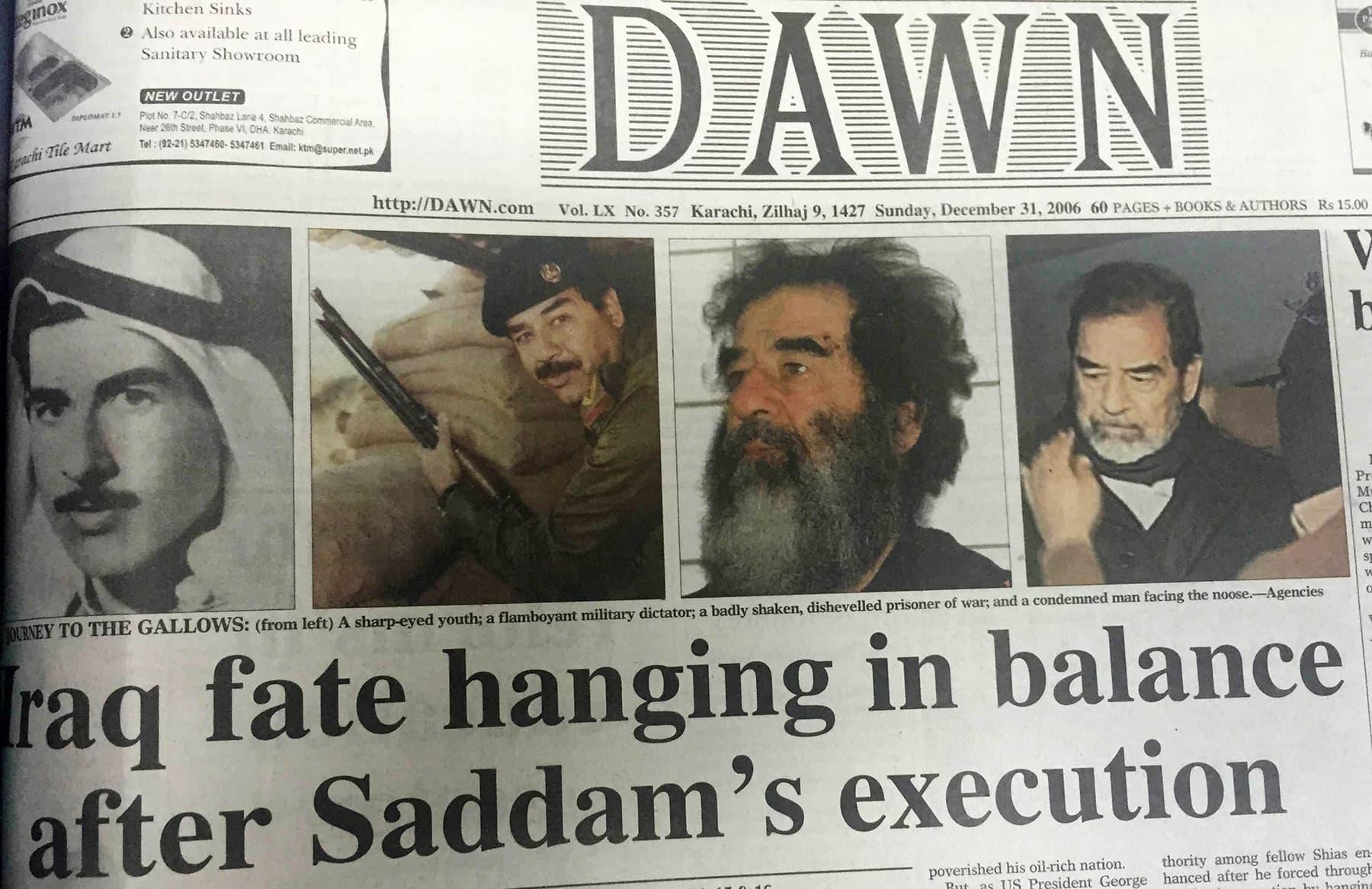 31 دسمبر 2006 کو ڈان اخبار کا صفحہ اول صدام حسین کی پھانسی کی خبر دیتے ہوئے۔ — فوٹو ڈان