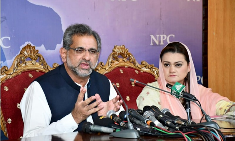 PML-N leader Shahid Khaqan Abbasi defending decisions taken by the PML-N government. —Photo provided by author