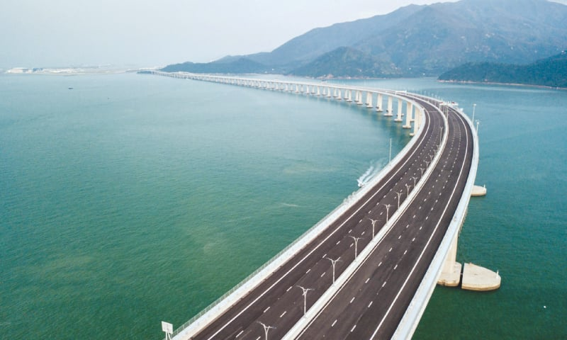 HONG KONG: An aerial view shows a section of the Hong Kong-Zhuhai-Macau Bridge, the world's longest sea bridge connecting Hong Kong, Macau and mainland China. The bridge was formally opened by Chinese President Xi Jinping on Tuesday.—AFP