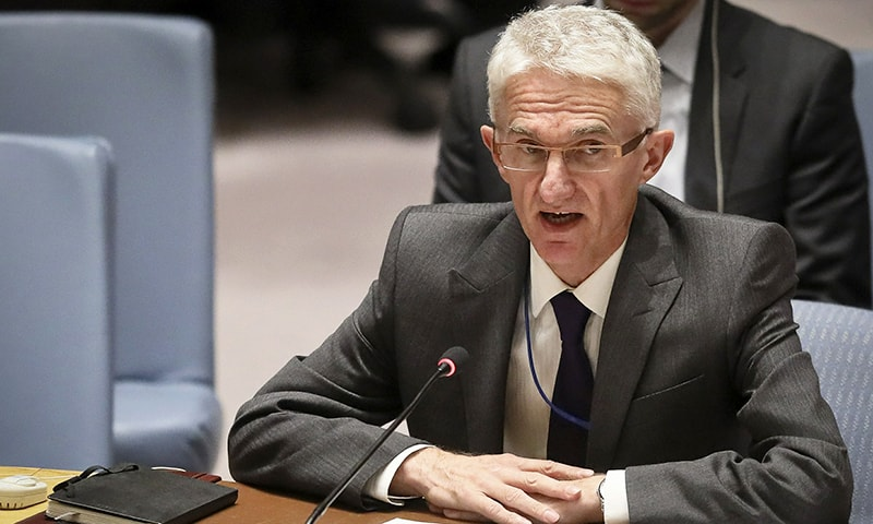 Mark Lowcock, the UN Humanitarian Affairs Emergency and Relief Coordinator, address United Nations Security Council with a report on Yemen, Tuesday Oct 23, 2018 at UN headquarters. —AP