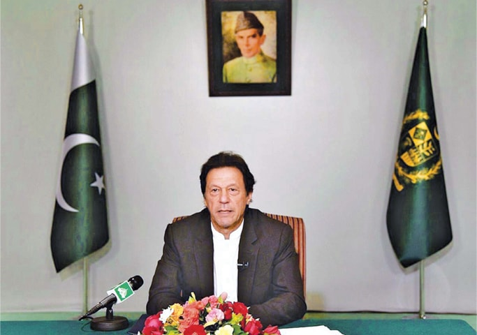 PRIME Minister Imran Khan addresses the nation.—APP