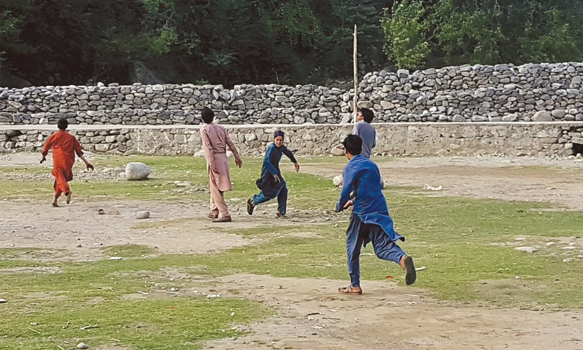 A group of boys playing in Darel valley