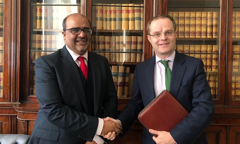 SAPM Mirza Shahzad Akbar with ,UK Prime Minister's Special Representative for Afghanistan and Pakistan Mr Gareth Bayley in London. — Photo by author