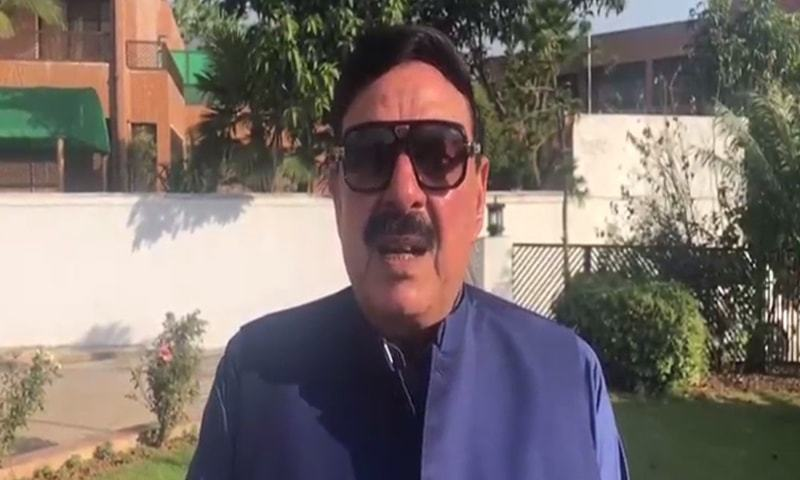 Railways Minister Sheikh Rashid speaking to the media on Friday. — DawnNewsTV