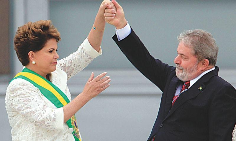 برازیل کے سابق صدر لوئیز اناشیو لولا ڈا سلوا اور ڈلما روزیف