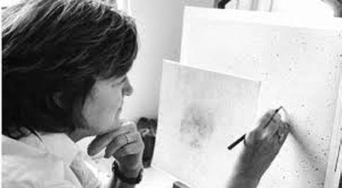 Vija Celmins with her artwork