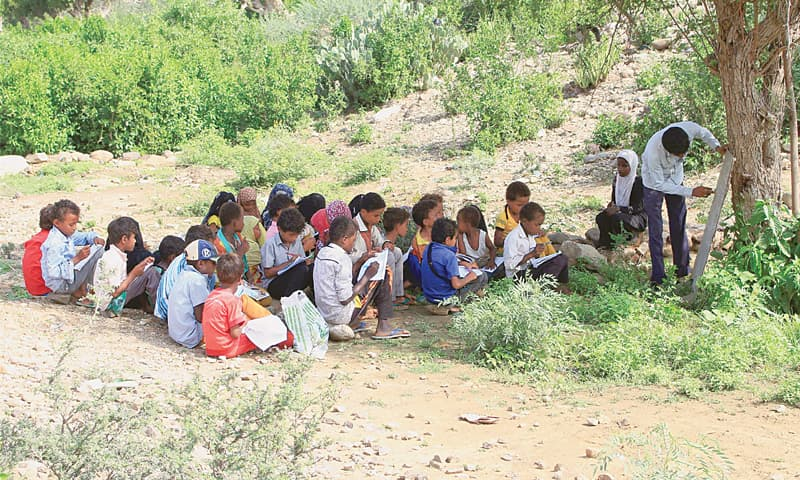 Displaced Yemeni students attend a class in an open field under a tree in Yemen's northwestern Hajjah province on Sunday. Around two million children across the country now have no access to schooling, according to the Unicef.—AFP