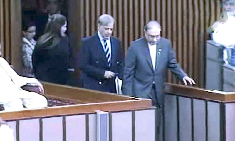 Opposition leader Shahbaz Sharif and PPP co-chairman enter the National Assembly together on Monday. — DawnNewsTV