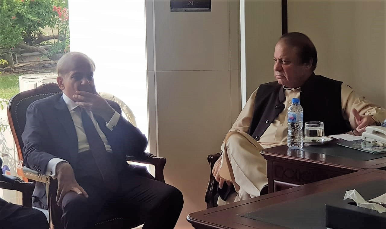 Shahbaz and Nawaz meet at Parliament House on Tuesday. ─ Photo provided by author