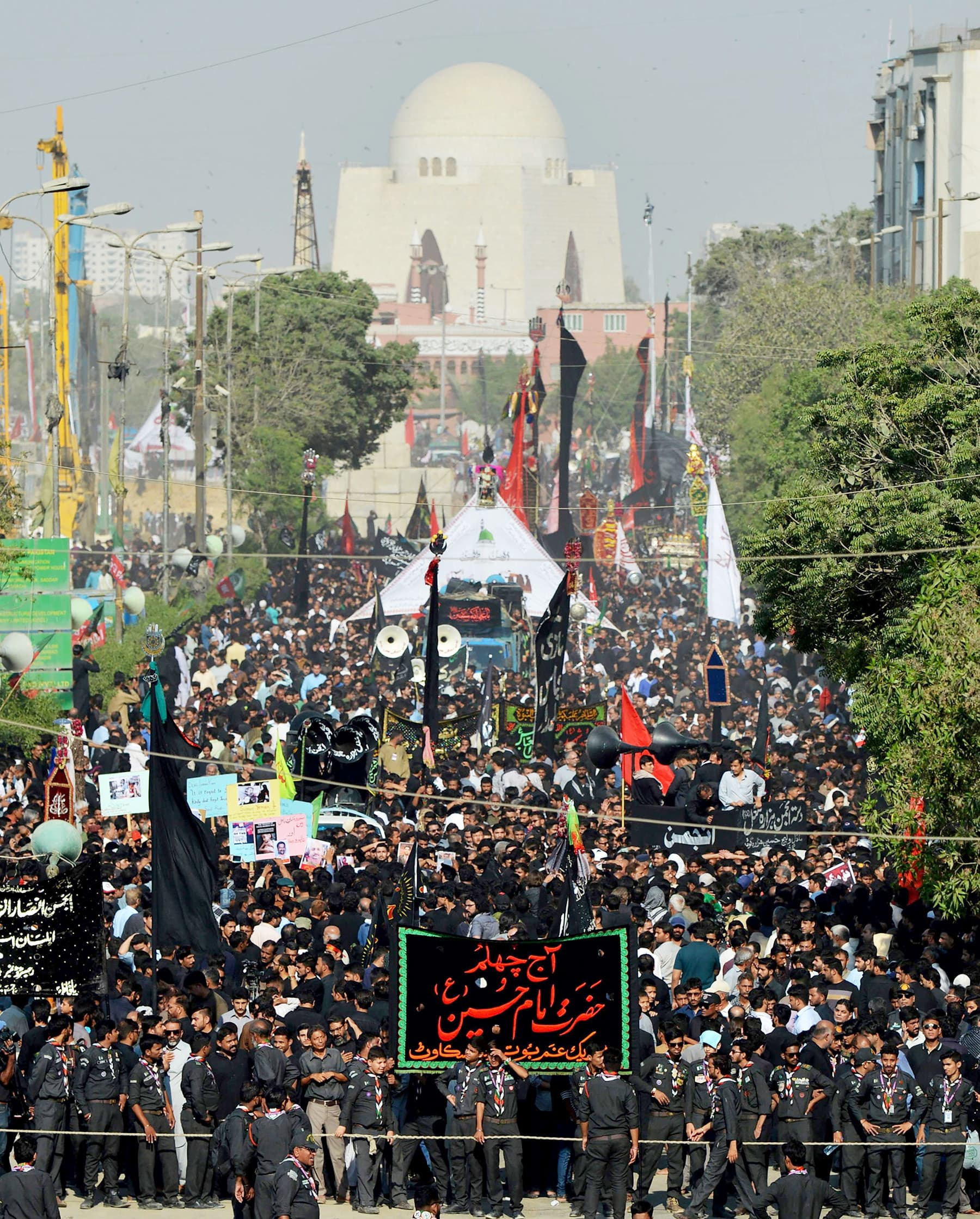 Hundreds of devotees seen participating in the main religious procession in Karachi. —AFP