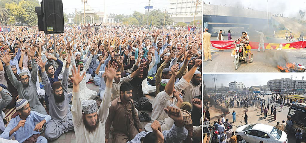 Supporters of the Tehreek-i-Labbaik Pakistan chant slogans during a protest against the court decision to overturn the conviction of Aasia Bibi at Mall Road in Lahore (left) on Wednesday. The protesters burn tyres at Faizabad in Islamabad (top right) and Brooks Chowrangi in Karachi  (bottom right).—White Star
