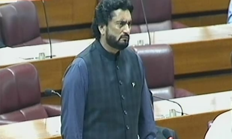 Minister of State for Interior Sheheryar Afridi addresses the National Assembly. ─ DawnNewsTV