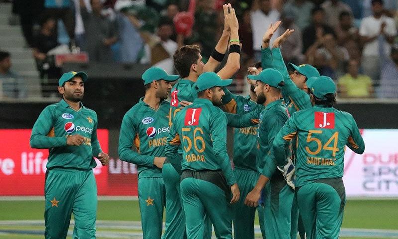 قومی ٹیم کے کھلاڑی وکٹ لینے پر شاہین شاہ آفریدی کو مبارکباد دے رہے ہیں— فوٹو: اے ایف پی