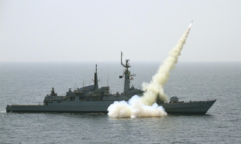 Pakistan Navy ship Shahjahan demonstrates its firepower in the North Arabian Sea on Friday.—Online