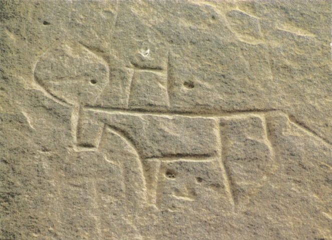 A small figure of a bull with 'joined' legs, a stylised hump and curved horns carved on the Sado Mazo rock. The author believes this carving belongs to the Neolithic period and is about 8,000 years old