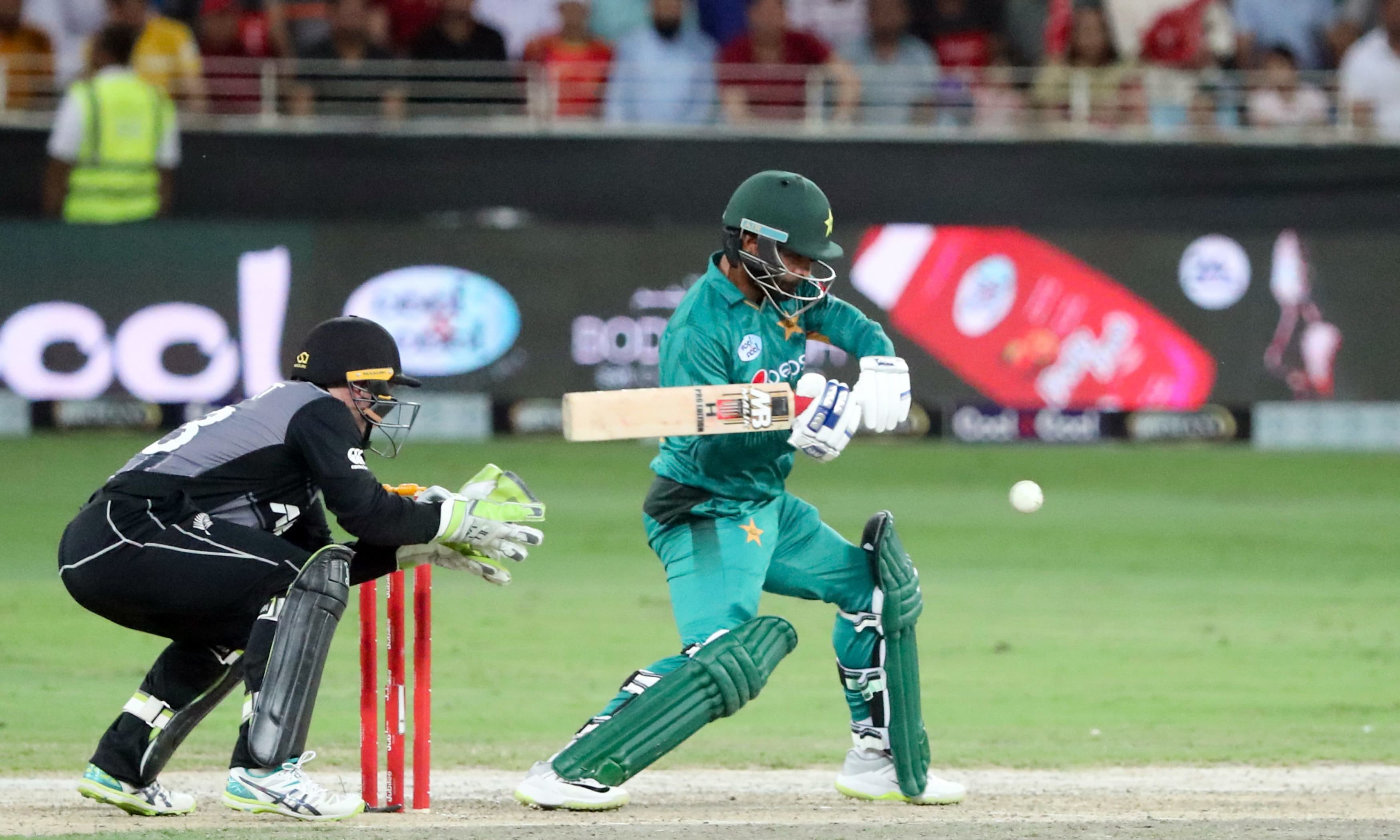 Muhammad Hafeez plays a shot during T20 cricket match against New Zealand. —AFP