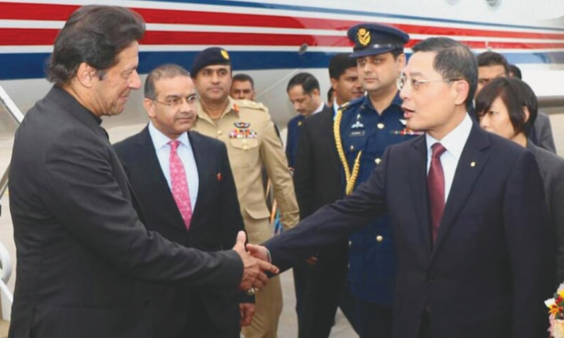 SHANGHAI: Shanghai's Deputy Mayor Peng Chenlei receives Prime Minister Imran Khan at the airport. The prime minister will address the opening ceremony of the China International Import Expo here on Monday.—INP