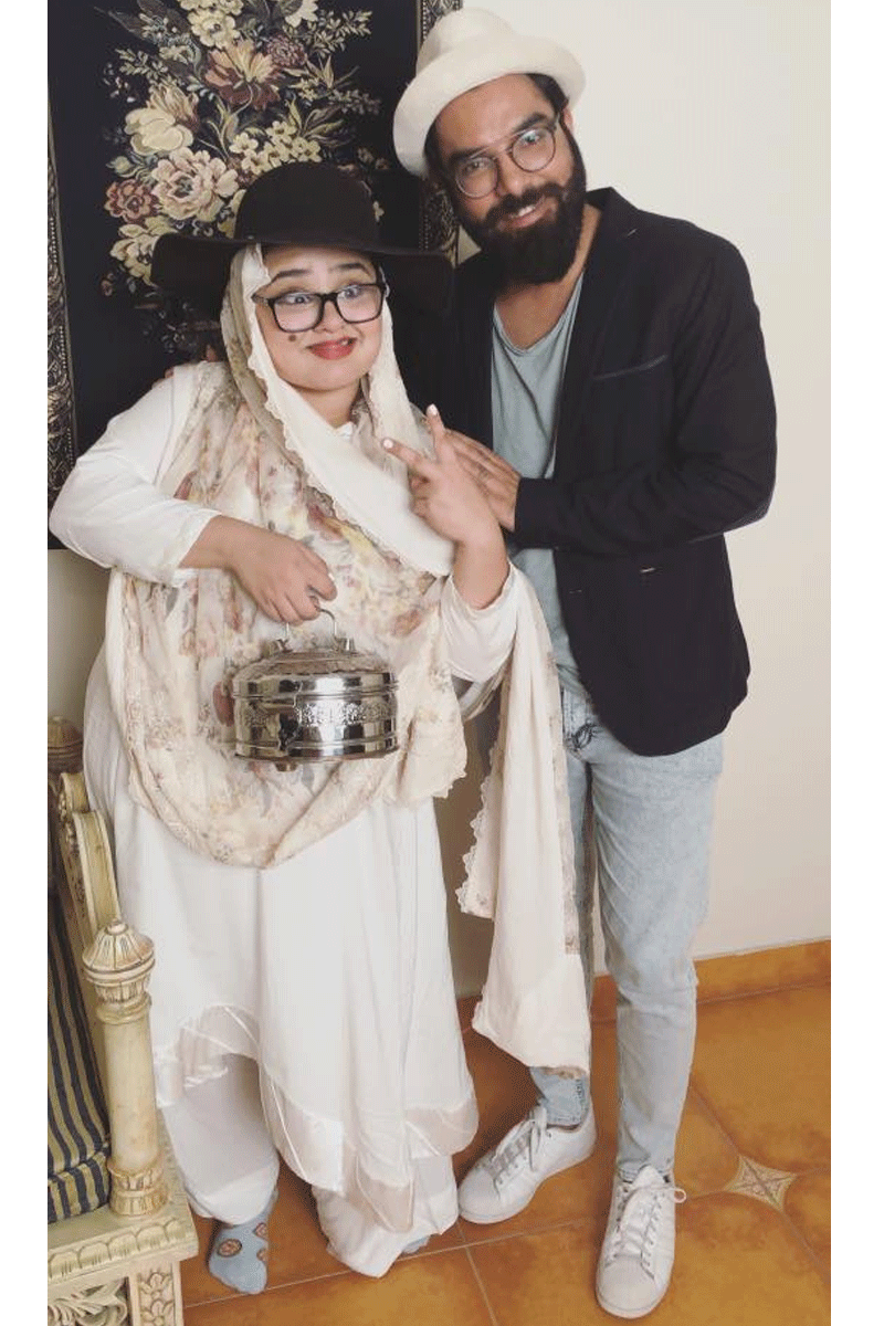 Faiza Saleem aka Dadi with Yasir Hussain. Photo: Facebook/FaizaSaleem