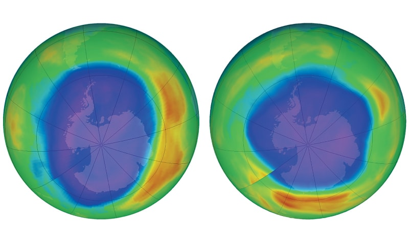 This combination of images made available by Nasa shows areas of low ozone above Antarctica in Sept 2000 (left) and Sept 2018. The purple and blue colours are where there is the least ozone, and the yellows and reds are where there is more ozone. — AP
