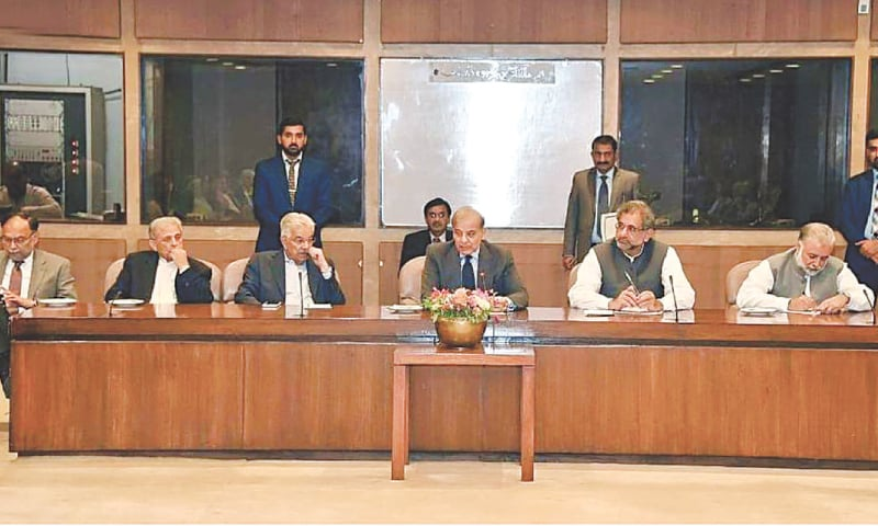 Leader of the Opposition Shahbaz Sharif chairs a meeting of the PML-N's parliamentary party at the Parliament House on Monday.—INP
