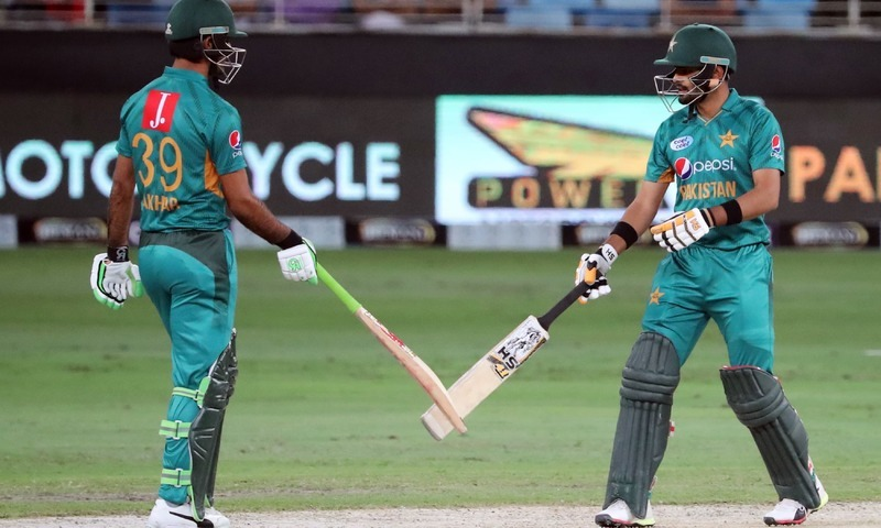 Fakhar Zaman and Barbar Azam bat during T20 cricket match against New Zealand. —AFP/File