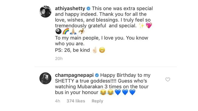 Happy Birthday To My Shetty A True Goddess Drake Wishes Athiya