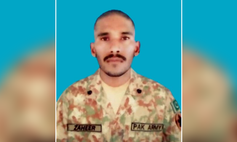 Sepoy Zaheer Ahmed belonged to Sultanpur village of Bhimber district. — DawnNewsTV