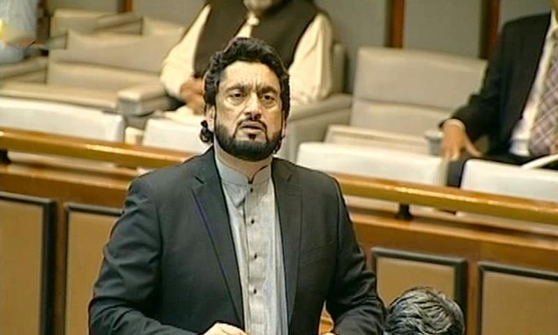 Minister of State for Interior Shehryar Afridi on the floor of the Senate on Thursday. — DawnNewsTV