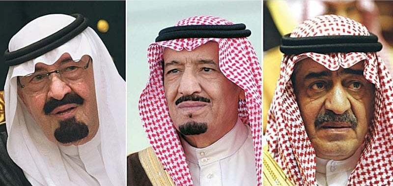 (دائیں سے بائیں) سابق ولی عہد مقرن بن عبدالعزیز، شاہ سلمان بن عبدالعزیز، اور شاہ عبداللہ بن عبدالعزیز
