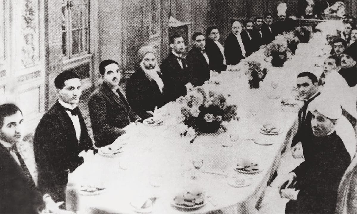Allama Iqbal (centre; right in his characteristic headgear) sitting alongside Quaid-i-Azam Mohammad Ali Jinnah at the Round Table Conference in London | Photo courtesy: The Allama Iqbal Collection