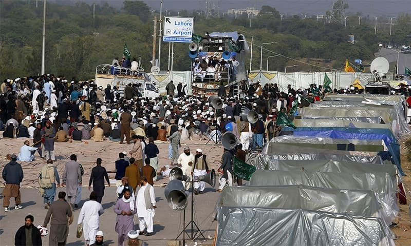 TLP workers had staged a sit-in in Islamabad last year and virtually paralysed the capital. — File/AP