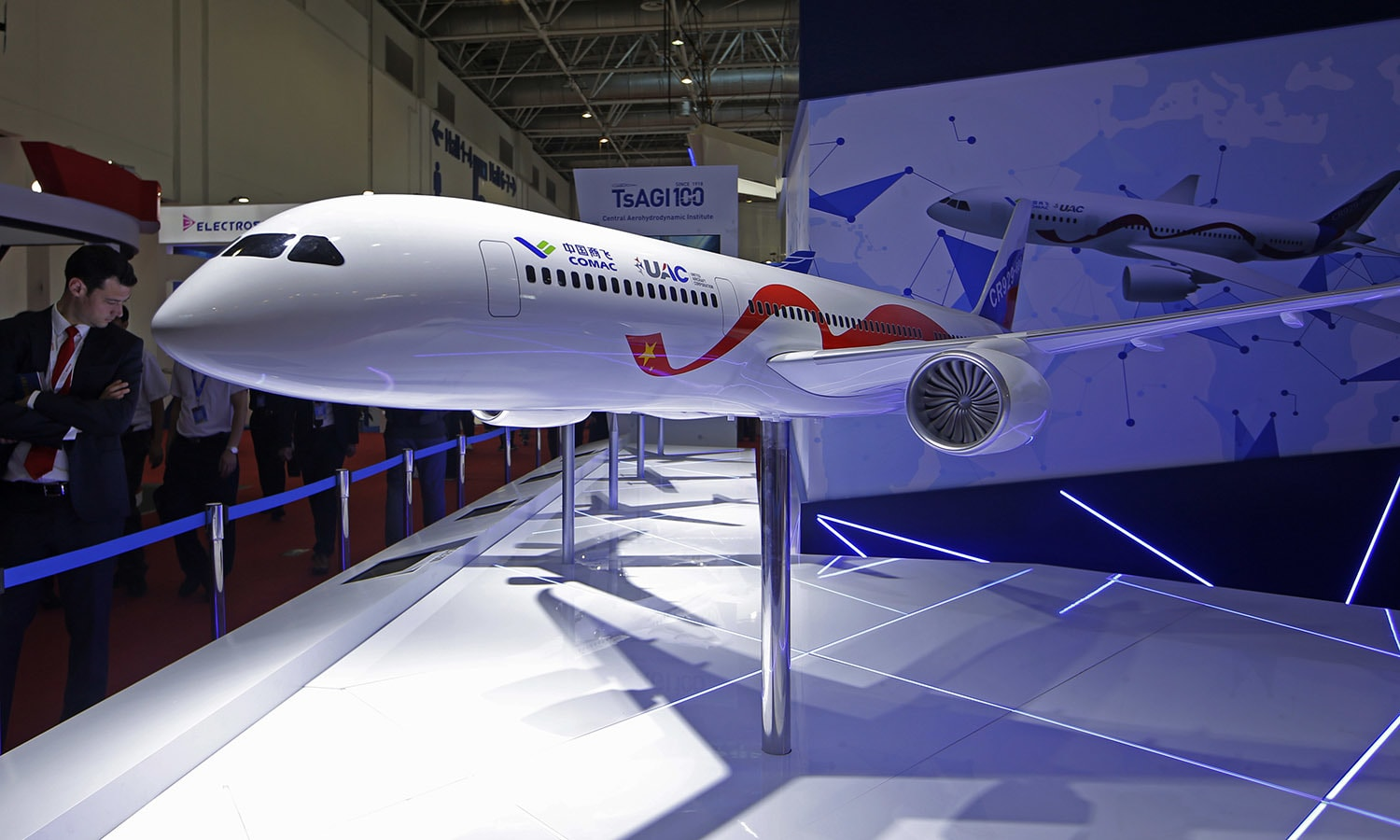 In this November 7 file photo, a model of the CRAIC CR929-600 airliner is displayed during the Airshow China 2018, in Zhuhai city, south China's Guangdong province. — AP