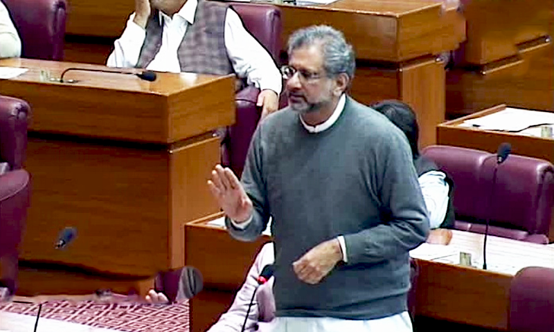 Former premier Shahid Khaqan Abbasi addresses the parliament on Friday. — DawnNewsTV