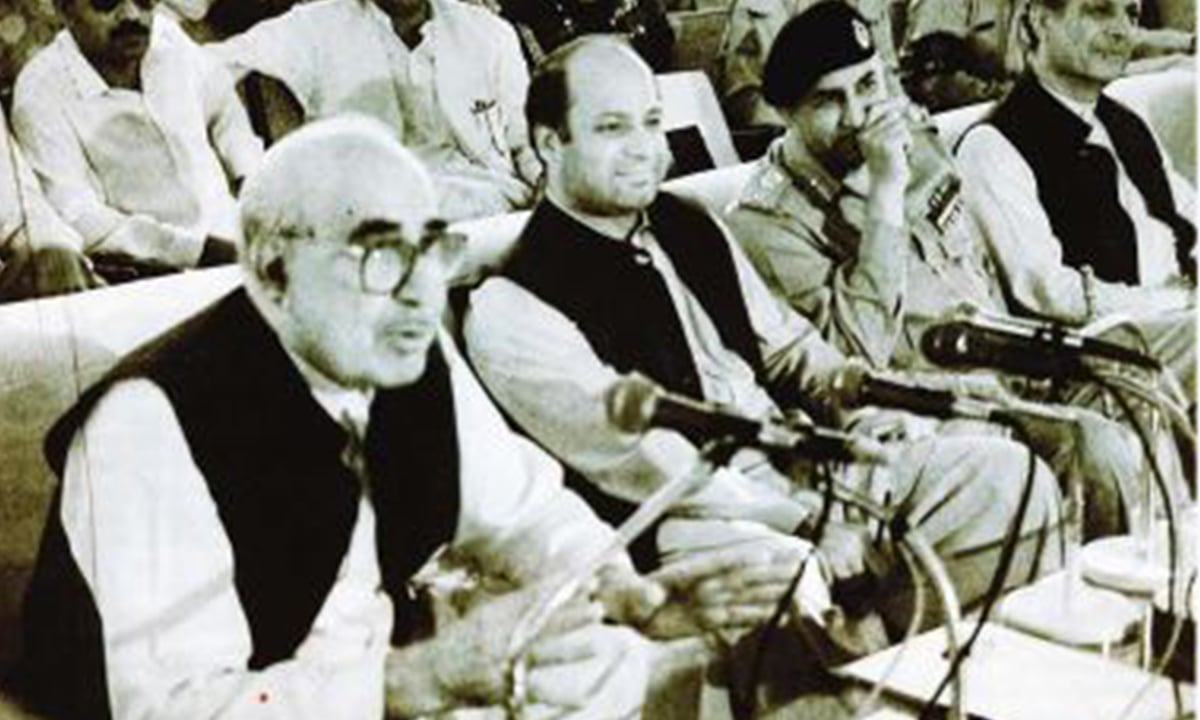 Ishaq Khan, Nawaz Sharif and Asif Nawaz | Photo taken from the August 1994 issue of the Herald