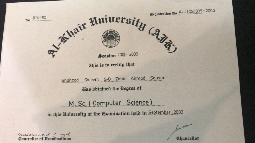 "A copy of NAB Lahore DG's ""original"" degree — Photo by NAB"