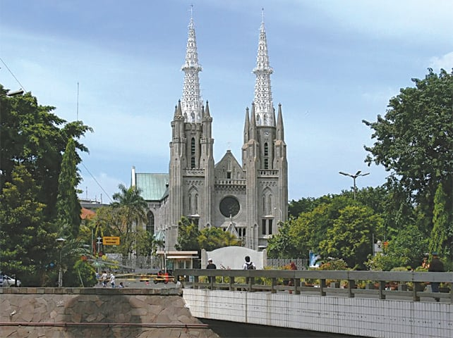 A cathedral opposite the Grand Mosque in Jakarta
