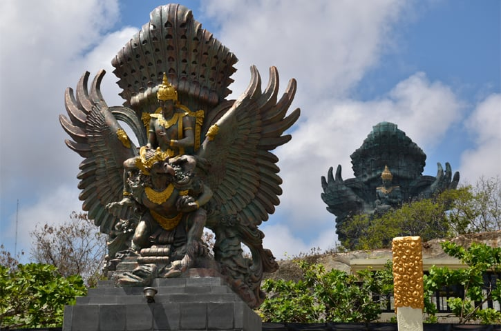 The 120-metre-high statue of the Hindu god Vishnu astride the mythical bird Garuda