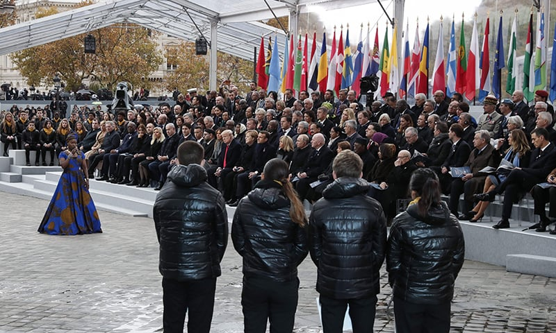 world leaders mark 100 years since wwi armistice in paris - world