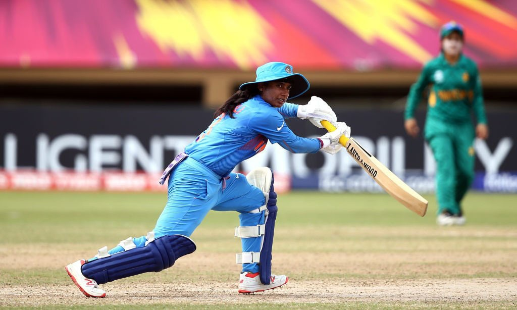 Mithali Raj plays a shot against Pakistan on Sunday — Photo courtesy: ICC Twitter