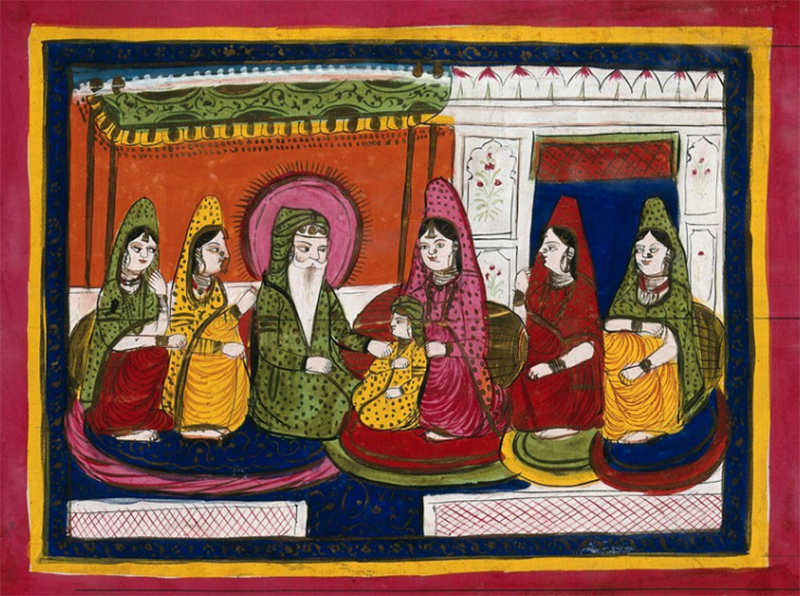مہاراجہ رنجیت سنگھ اپنی بیویوں کے ساتھ — پینٹنگ بشکریہ ویلکم کلیکشن/کری ایٹو کامنز