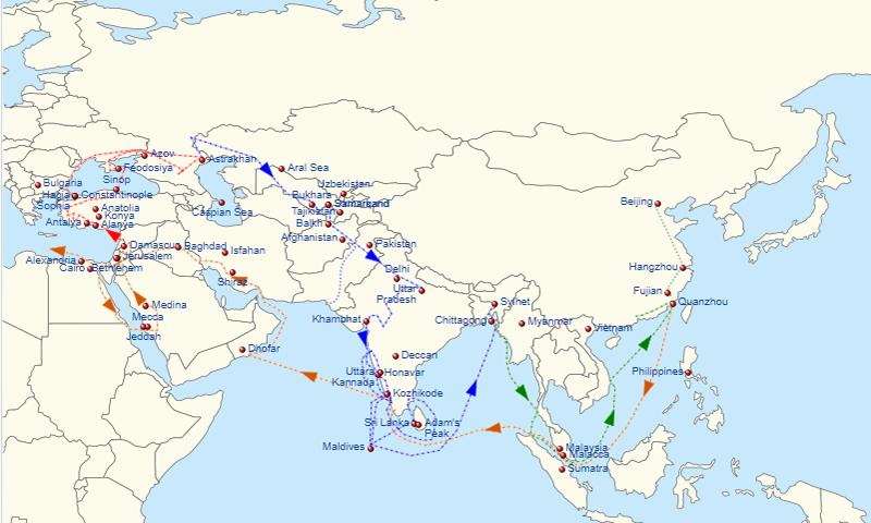 1332ء سے 1347ء تک ابنِ بطوطہ کے سفر — بشکریہ وکی میڈیا کامنز