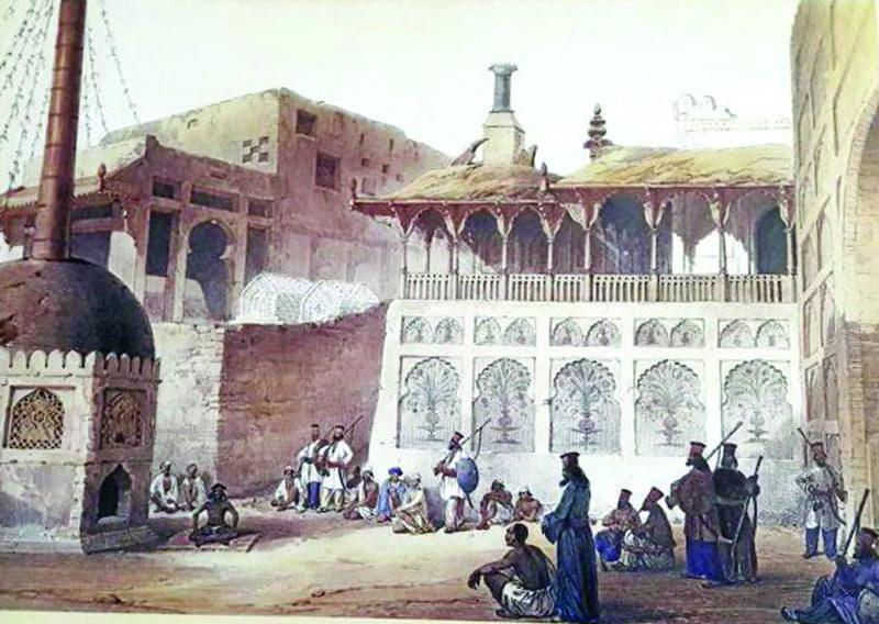 حضرت لال شہباز قلندر کے مزار کا 1800ء میں بنایا گیا ایک خاکہ۔ — پبلک ڈومین