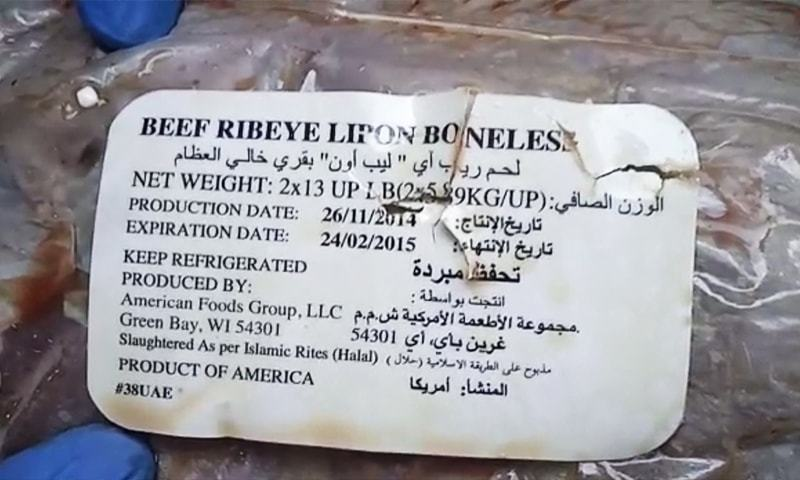 Expired meat found at a Karachi restaurant's godown during a raid by authorities. — DawnNewsTV