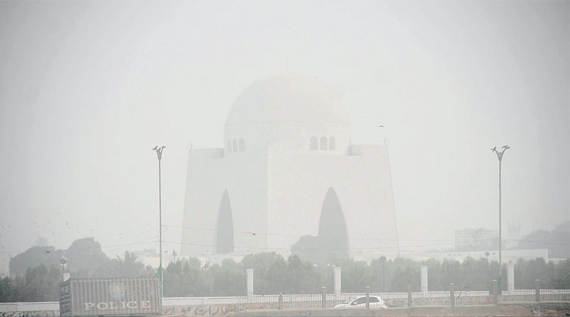 THE Mazar-i-Quaid is enveloped in haze as smog-like conditions prevailed in the city on Wednesday.—Online