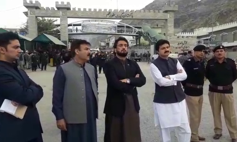 State Minister Shehryar Afridi waits at Torkham border for SP Dawar's body. — DawnNewsTV