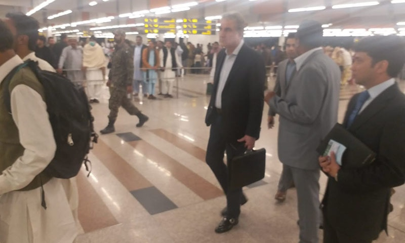 Foreign Minister Shah Mehmood Qureshi has left for the UAE to attend the 9th Sir Bani Yas Forum. — Photo courtesy Dr Mohammad Faisal Twitter