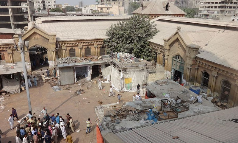 Demolished encroachments near Empress Market.—Urban Resource Center