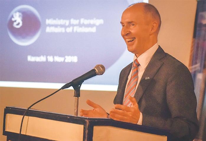 Ambassador Harri Kamarainen speaks at the event.—White Star