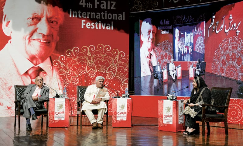 Javed Akhtar talks during a session along with Amjad Islam Amjad and Ambreen Salahuddin at the Faiz International Festival. — White Star